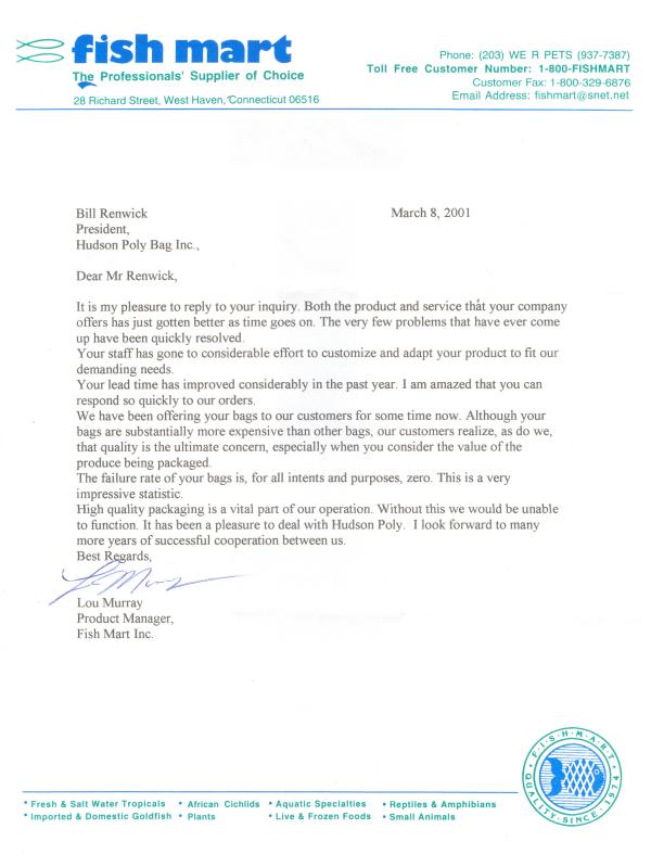 Fish Mart Testimonial Letter